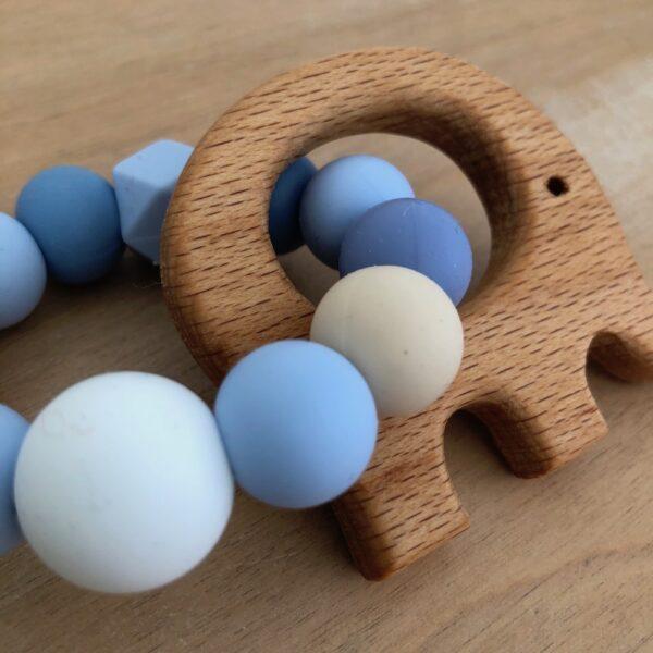 Mordillo de cuentas de madera y silicona